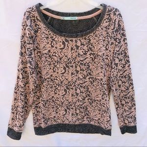 Maurices Blush/Grey Long Sleeve Pullover Top Small